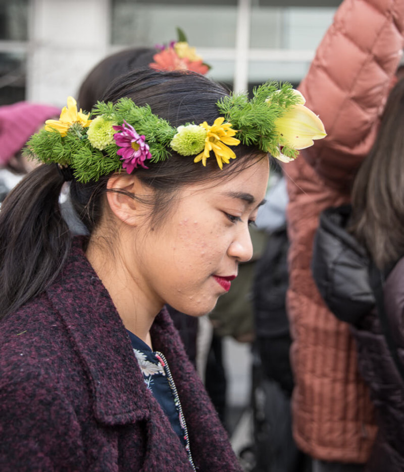 Asian Woman with Flowers in her Hair
