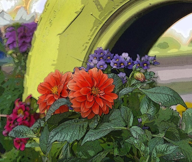 Yellow Tire with Orange Flowers