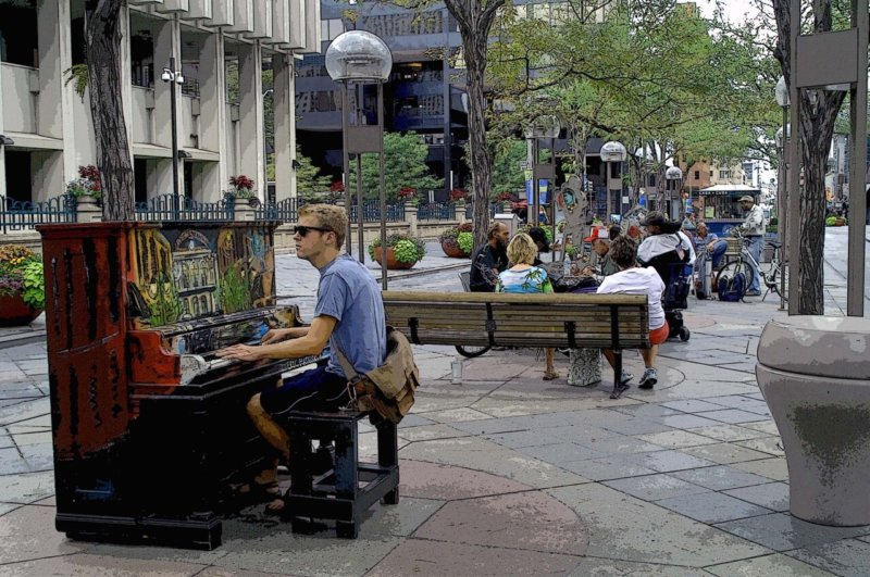 Downtown Piano Player-poster edges