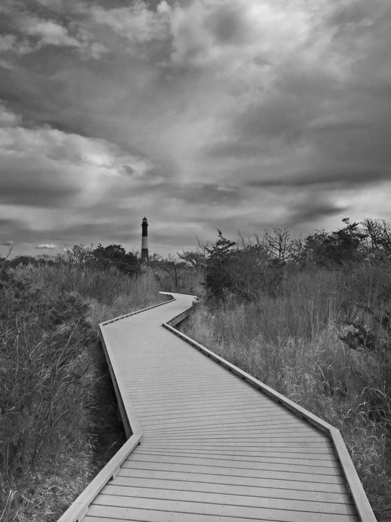 Long Island Boardwalk to Litehouse - Black and White