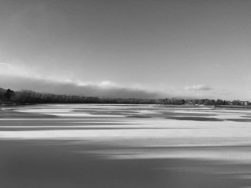 Shadows on Icy Lake - Black and White